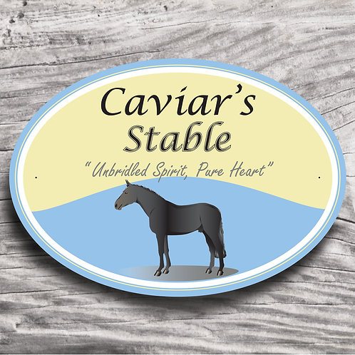 Personalised horse sign: TB-type, black horse