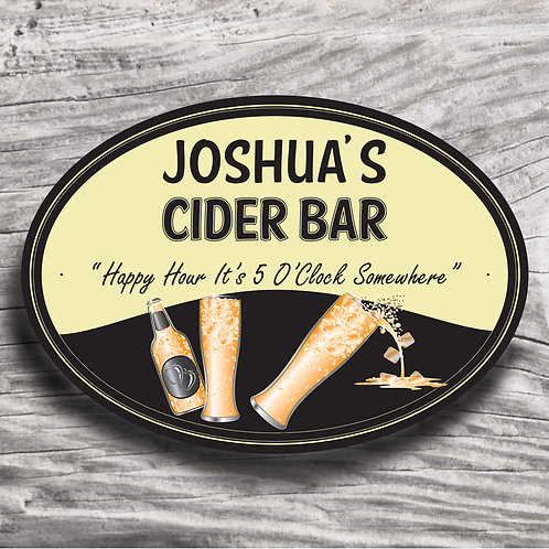 "Personalised Drinks ""Cider"" Cream Effect Sign"