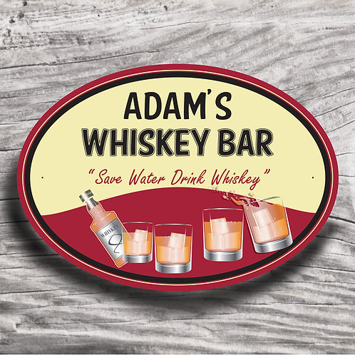"Personalised Drinks ""Whiskey"" Cream Effect Sign"