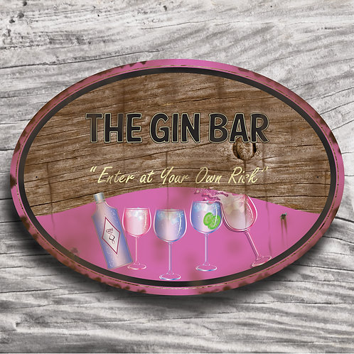 "Personalised Drinks ""Gin"" Wood Effect Sign"