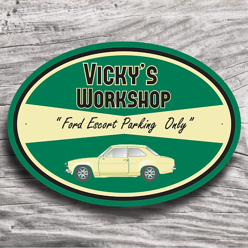 """Personalised """"Classic Ford Escort"""" Sign"""