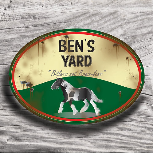 Personalised horse sign: Native Cob, piebald horse