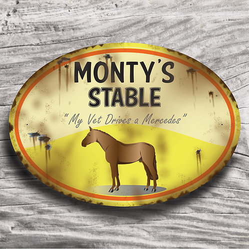 Personalised horse sign: TB-type, brown horse