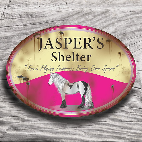 Personalised horse sign: Cold-blood,'grey' horse/pony