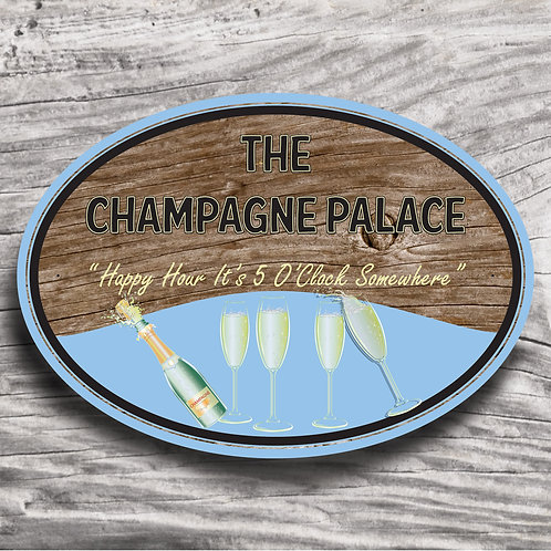 """Personalised Drinks """"Champagne"""" Wood Effect Sign"""