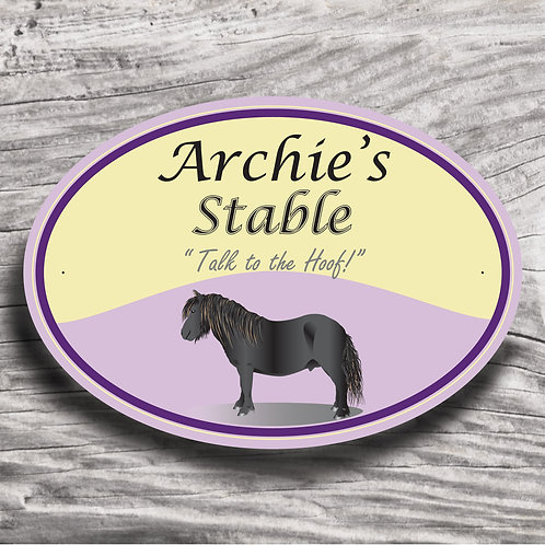 Personalised horse sign: Mini-type, black pony