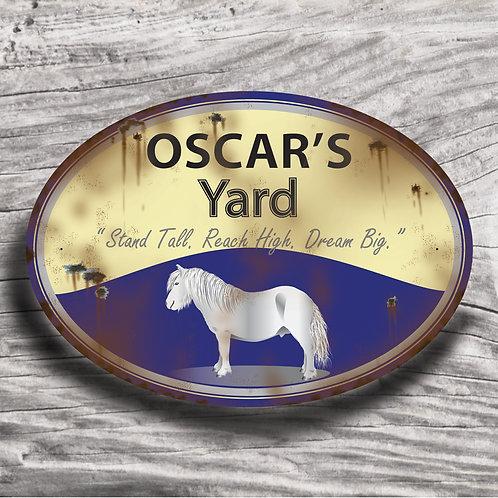 Personalised horse sign: Mini-type, grey pony