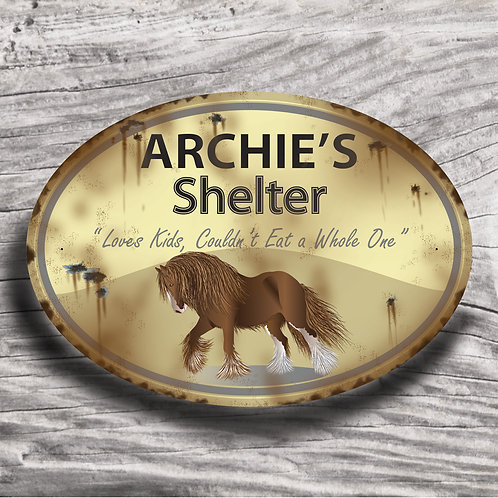 Personalised horse sign: Full-feathered draft, brown horse