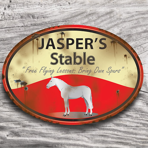 Personalised horse sign: TB-type, grey horse