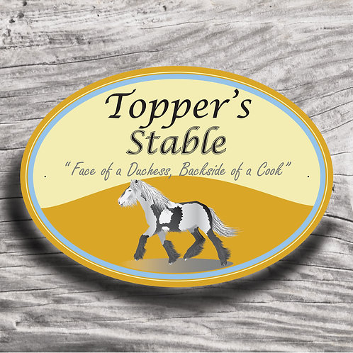 Personalised horse sign: Native Cob, 'grey' horse