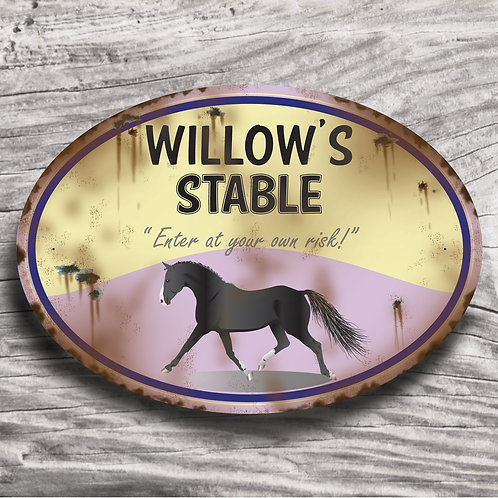 Personalised horse sign: Sports pony, black pony