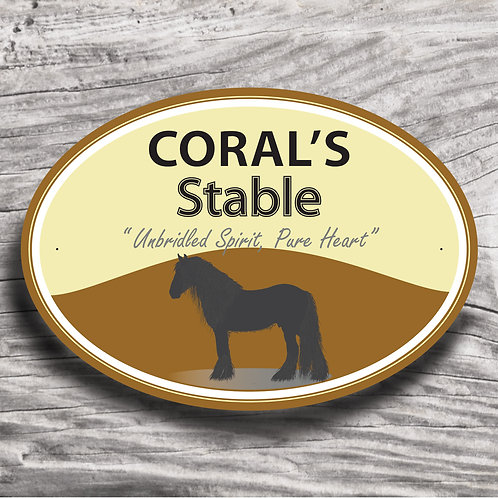 Personalised horse sign: Cold-blood, Silhouette of horse/pony