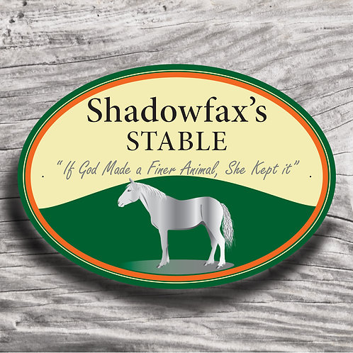 Personalised horse sign: Sports horse, grey horse