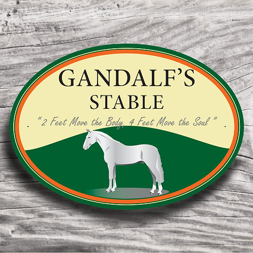 Personalised horse sign: WB-type, grey horse
