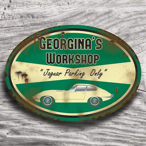 "Personalised ""Classic Jaguar E-Type"" Sign"