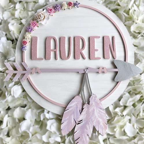 Personalised boho floral plaque
