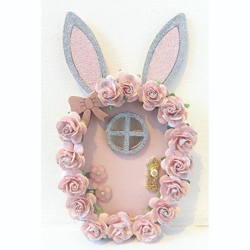 Floral bunny fairy door