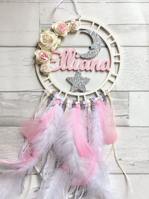 Floral Star and Moon Dream Catcher