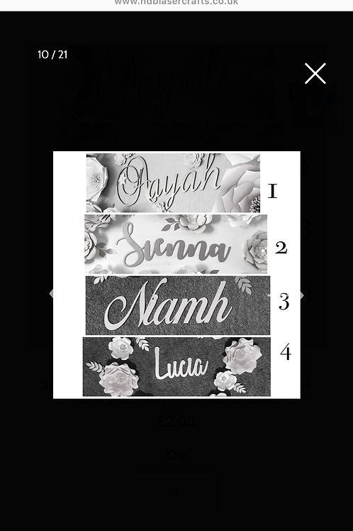 Scripted names for floral walls