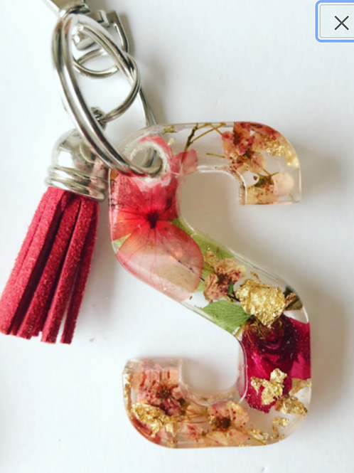 Block Letter Keychain- Pressed Flowers and Resin
