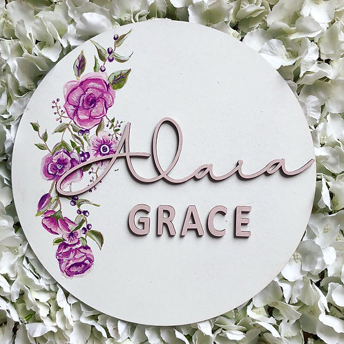 Custom made floral wall plaque