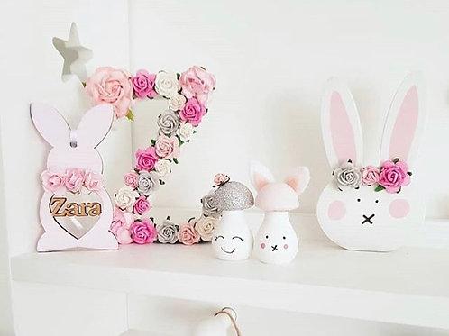 Boho floral bunny