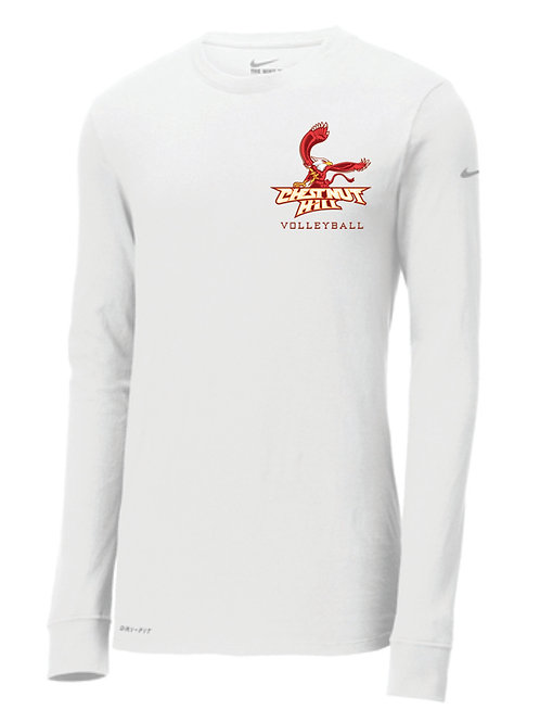 NKBQ5230 - White Nike Dri-FIT Cotton/Poly Long Sleeve Tee