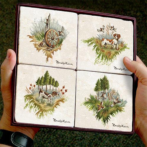 Quail & Birddogs, Coasters (Set of 4)
