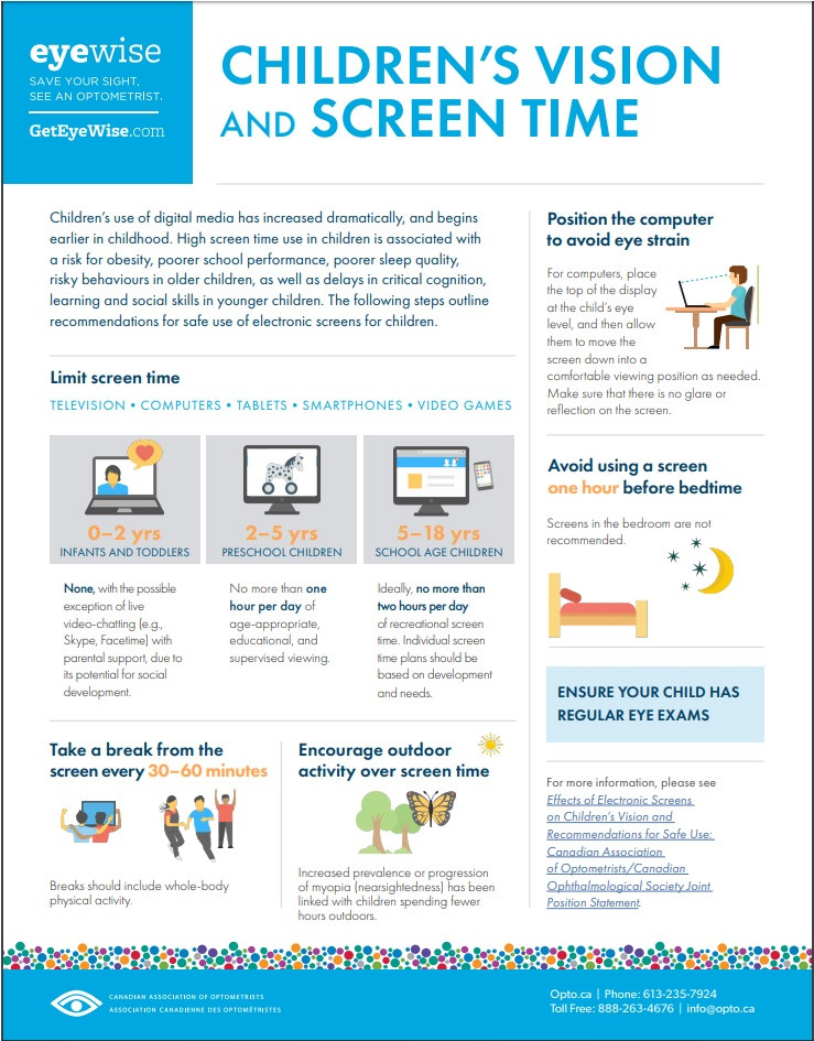 Children's vision and screen time.  Back to school and computer use.