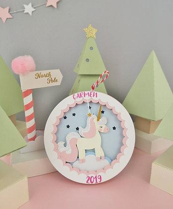 Unicorn Light Up Christmas Bauble
