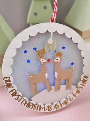 Reindeer Couple Light up Christmas Bauble