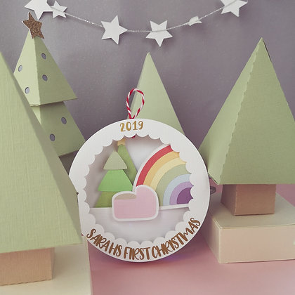 Light Up Personalised Christmas Bauble For Rainbow Baby's First Christmas Gift
