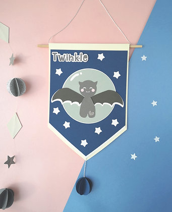Cute Batty Bat Halloween Banner