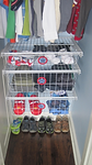 Neat Little Nest: Organizing a Small Kid's Closet with Superhero labels