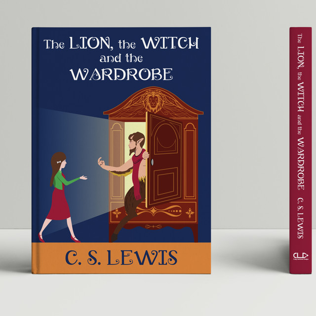 The Lion, the Witch and the Wardrobe book cover mock up