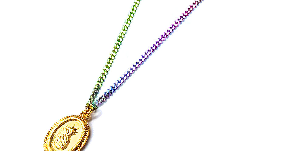 PINEAPPLE COIN CHARM RAINBOW NECKLACE