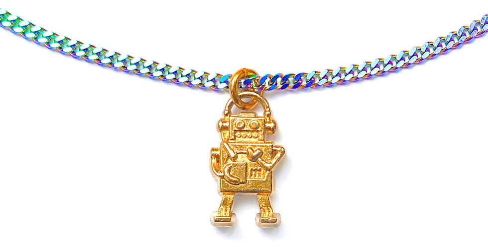 ROGER THE RAINBOW ROBOT ADJUSTABLE NECKLACE
