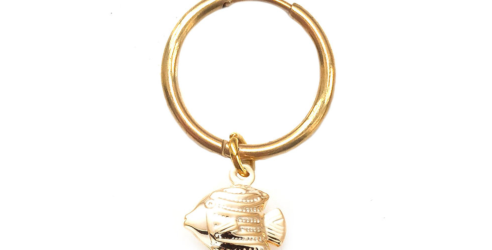 TROPICAL FISH GOLD CHARM HOOP EARRING / HAIR ACCESSORY