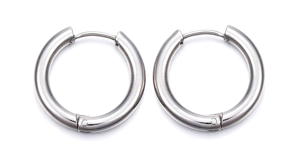 CAN YOU CLICK IT HOOP EARRINGS IN SILVER