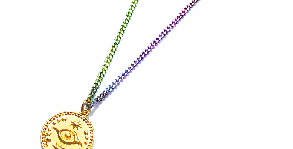 'EYE SEE YOU' COIN RAINBOW NECKLACE