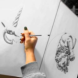 kellyonlychild ballpoint pen drawing