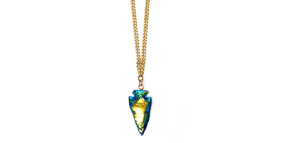 IRIDESCENT TRIBAL SPEAR PENDANT