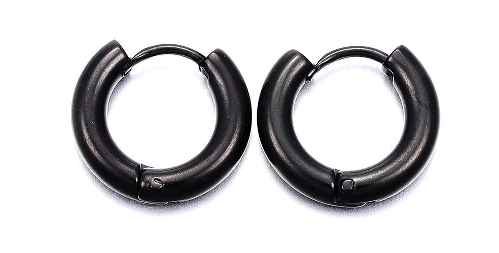 BLACK EARHUGGER HOOP EARRINGS