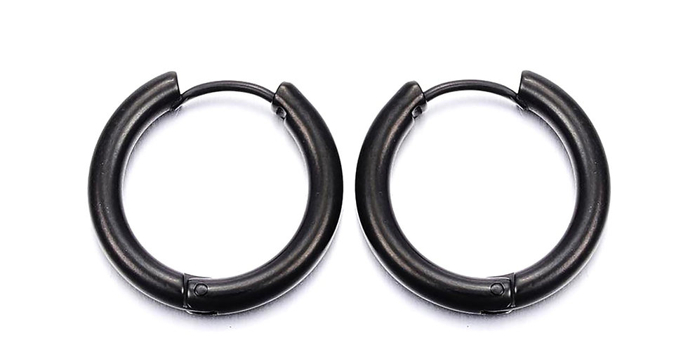 CAN YOU CLICK IT HOOP EARRINGS IN BLACK