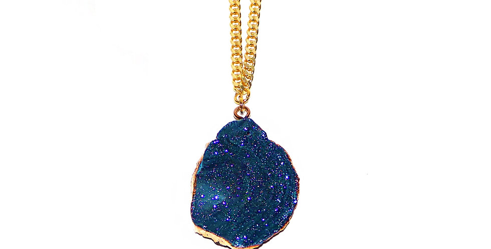 SPACE NUGGET PENDANT IN DEEP BLUE