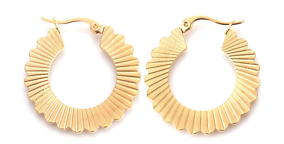 Sun Ray Hoop Earrings in Gold