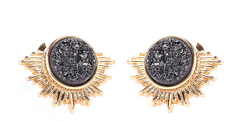 BLACK GOLD OF THE SUN QUARTZ STUD EARRINGS