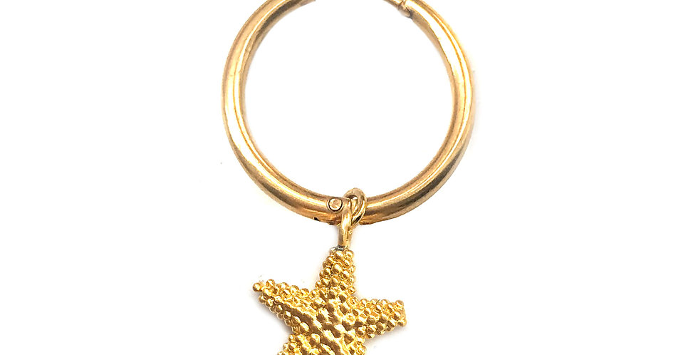 STARFISH GOLD CHARM HOOP EARRING / HAIR ACCESSORY