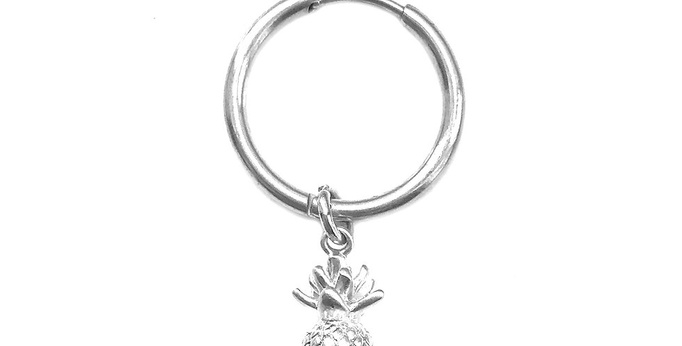 PINEAPPLE SILVER CHARM HOOP EARRING / HAIR ACCESSORY