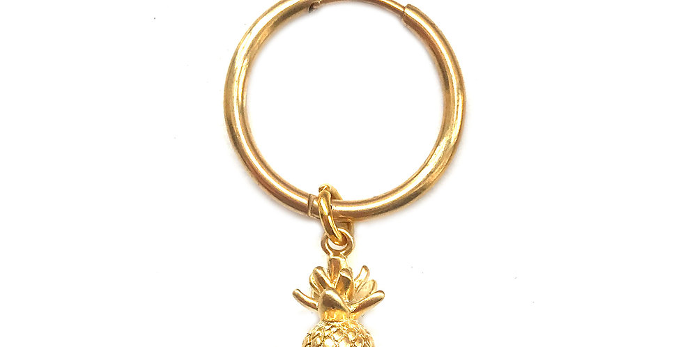 PINEAPPLE GOLD CHARM HOOP EARRING / HAIR ACCESSORY